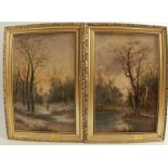 S Williams, pair of oil on board, figures in wooden scene, 12ins x 7.5ins