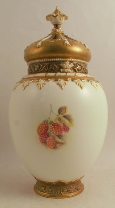 A Royal Worcester crown top pot pourri, decorated half round with hand painted fruit by Ayrton, - Image 3 of 5