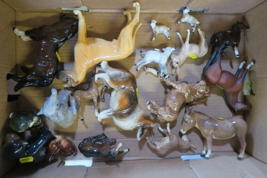 A collection of Beswick animals, to include donkeys, elephant , horses, sheep, Great Dane etc,