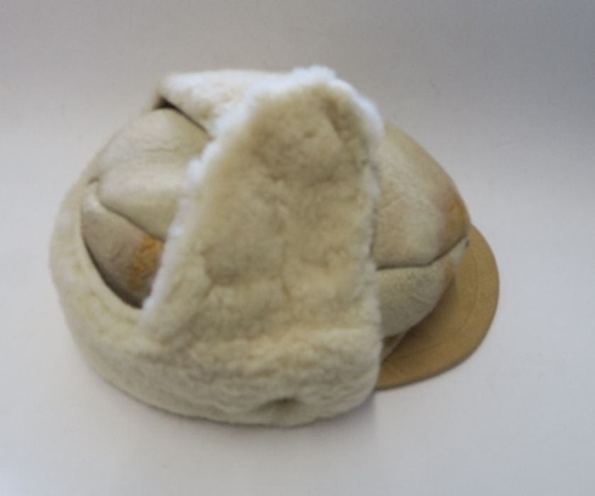 WW2 style German Luftwaffe M43 Winter Field Cap, in white sheepskin, together with a German Third - Image 2 of 9