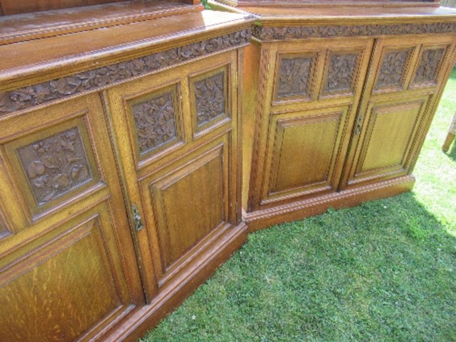 A pair of late 19th century oak bookcases, fitted open shelves to the upper section, and a further - Image 3 of 7