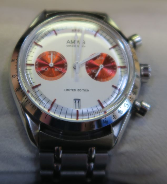 An AMWG Red Moon Chronograph stainless steel wrist watch, cased
