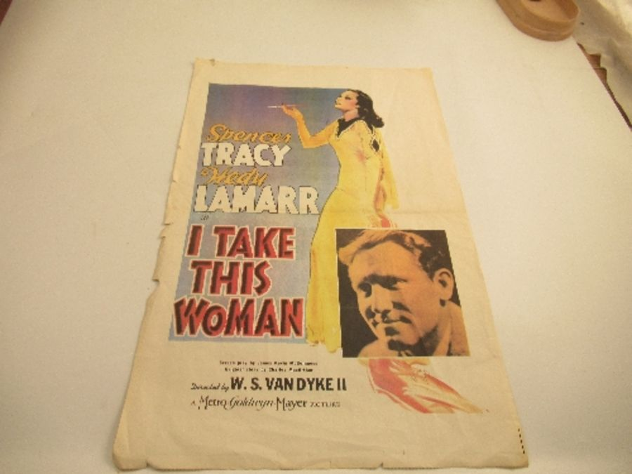 Cinema Poster, Spencer Tracy and Hedy Lamarr, I TAKE THIS WOMAN 1939, 15ins x 23ins