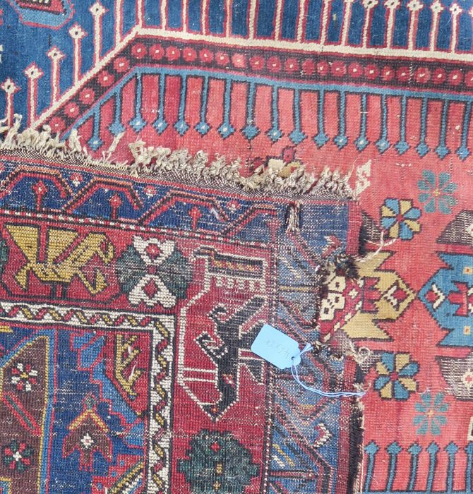 An Eastern style rug, the blue ground field having repeating motifs, 48ins x 95ins, together with - Image 5 of 5