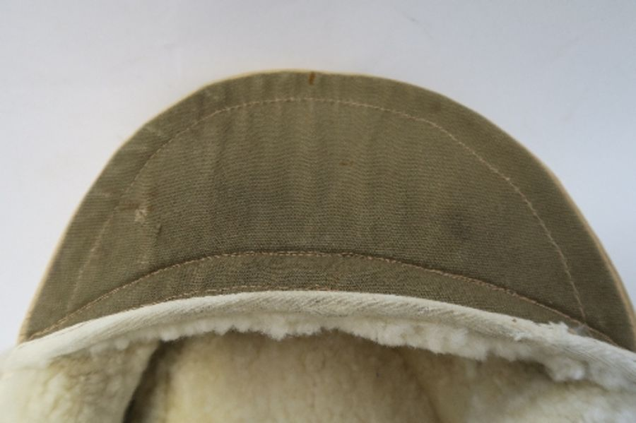 WW2 style German Luftwaffe M43 Winter Field Cap, in white sheepskin, together with a German Third - Image 5 of 9