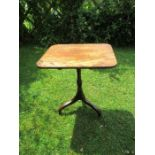 A 19th century mahogany rectangular topped occasional table, raised on a turned column,