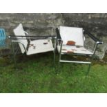 Pair of armchairs after Le Corbusier - Perriand and Jeanneret for CassinaCondition Report: Chrome