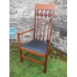 An Art Nouveau tulip back chair