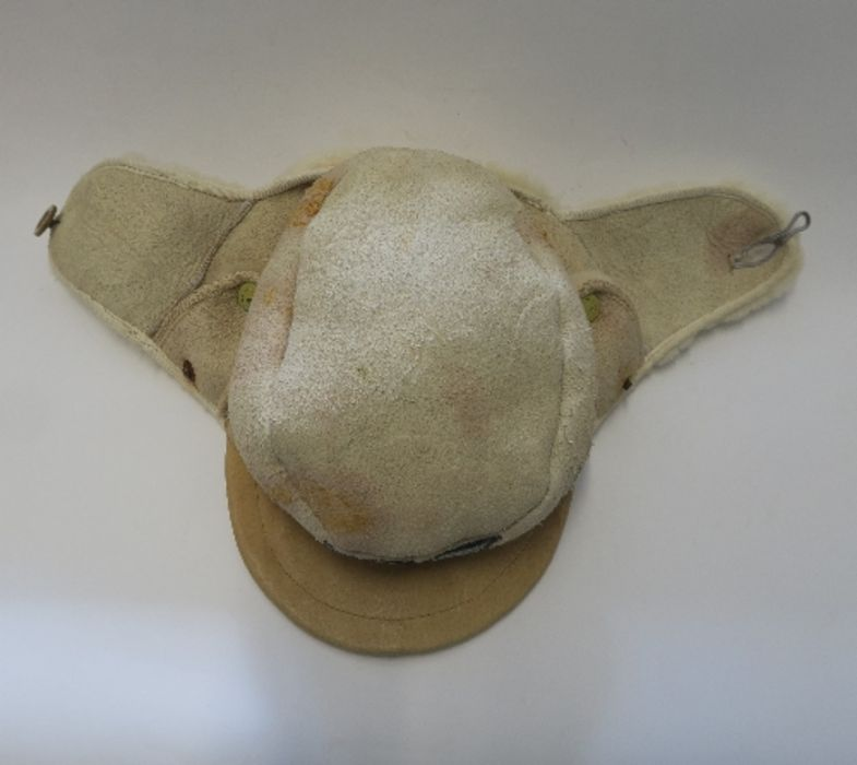 WW2 style German Luftwaffe M43 Winter Field Cap, in white sheepskin, together with a German Third - Image 3 of 9