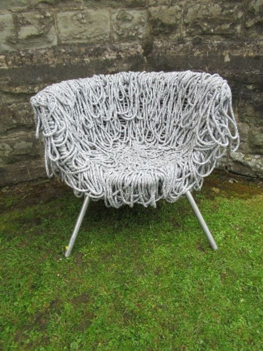 A draped silver rope designer armchair - Image 3 of 4