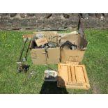 An artist's easel, music stand, various redundant metal parts, candle sticks, various door furniture