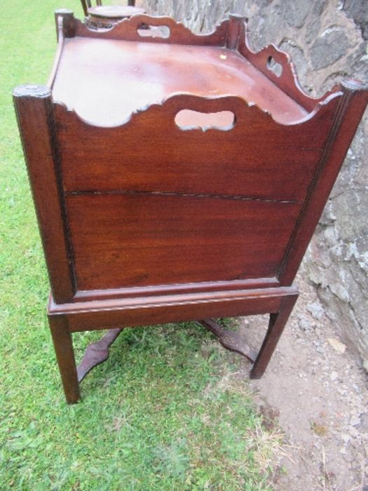 A late Georgian mahogany tray top bedside cupboard, fitted with two frieze drawers, width 23ins x - Image 2 of 3