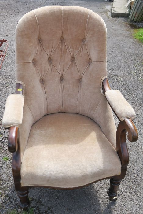A William IV rosewood upholstered library chair, having turned fluted legs to the front, and sabre - Image 2 of 3