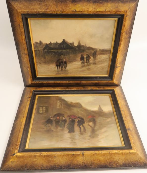 A pair of 20th century oil on board, winter scene with figures in storms, 6ins x 8ins