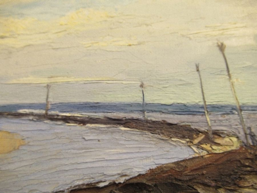 An oil on board, beach scene, signed F.W. Bannister, 1943, 11ins x 13ins - Image 6 of 7
