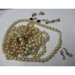 A seed pearl set bar brooch, together with two pairs of earrings and some simulated pearl necklaces