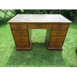 A Victorian oak and burr oak desk, fitted with one long drawer, flanked by four graduated drawers to