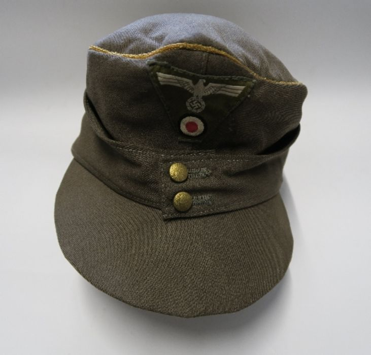 WW2 style German Luftwaffe M43 Winter Field Cap, in white sheepskin, together with a German Third - Image 6 of 9