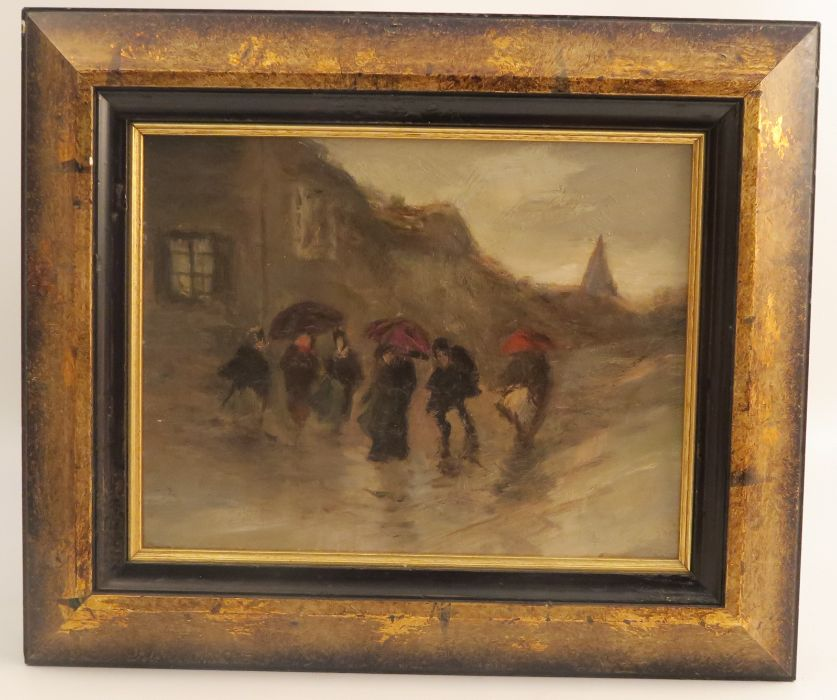 A pair of 20th century oil on board, winter scene with figures in storms, 6ins x 8ins - Image 3 of 3
