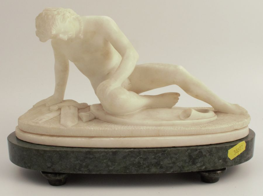 Marble statue, The Dying Gaul, width approx. 12ins, raised on a stone plinth