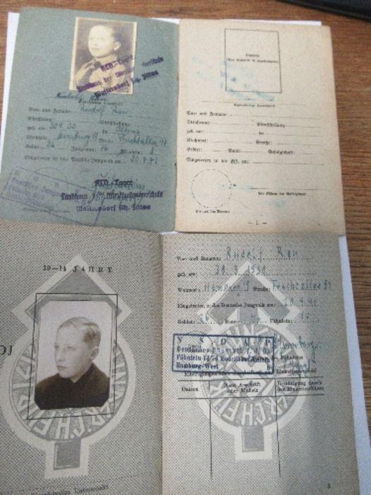 World War II, paperwork relating to Hitler Youth member Rufolf Rau, to include proficiency awards, - Image 3 of 3