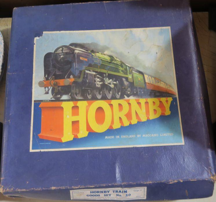 A boxed Hornby clockwork Train Goods Set, number 20, O gauge, in green livery