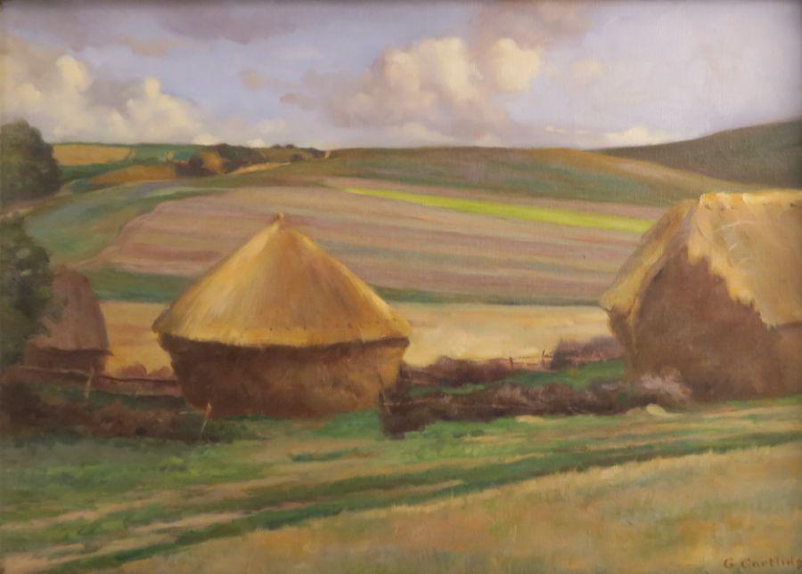 G Cartlidge, oil on canvas, rural landscape, 14ins x 20ins - Image 2 of 4