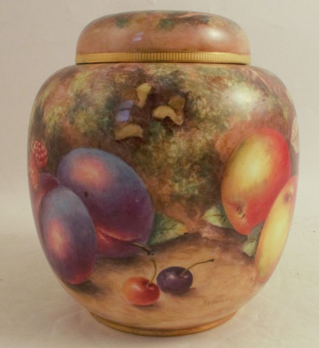 A Royal Worcester covered ginger jar, decorated all over with hand painted fruit by Freeman, - Image 2 of 5