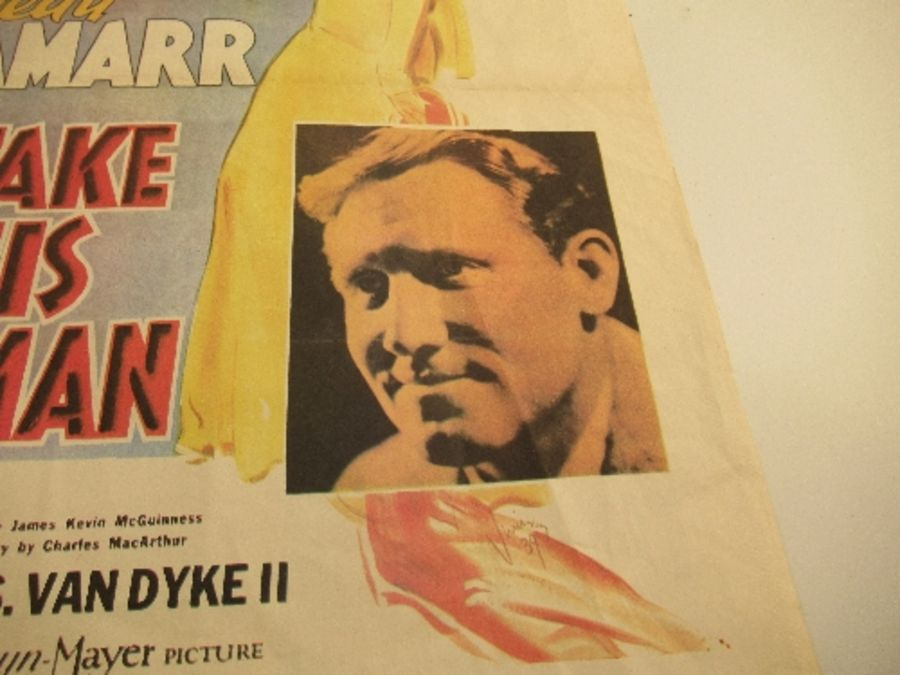 Cinema Poster, Spencer Tracy and Hedy Lamarr, I TAKE THIS WOMAN 1939, 15ins x 23ins - Image 3 of 3