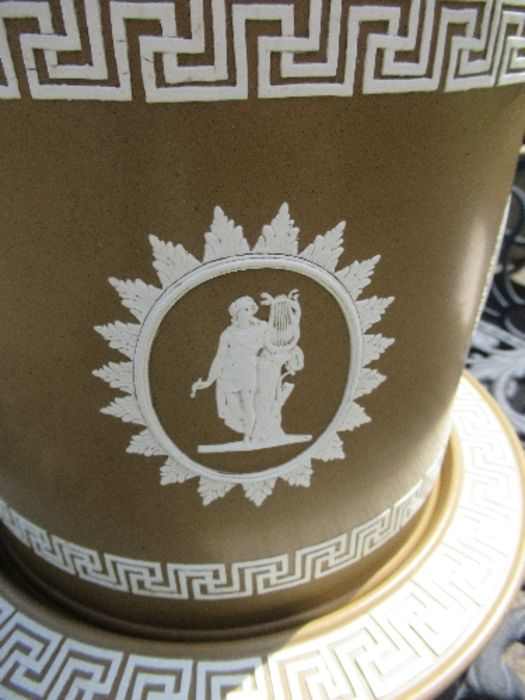 A Wedgwood style brown basalt stilton cover and stand, decorated all around with panels of - Image 5 of 5
