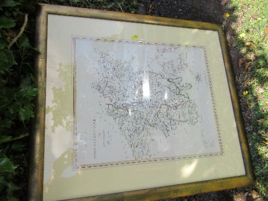 A framed map of Worcestershire, map size 19.5ins x 16ins