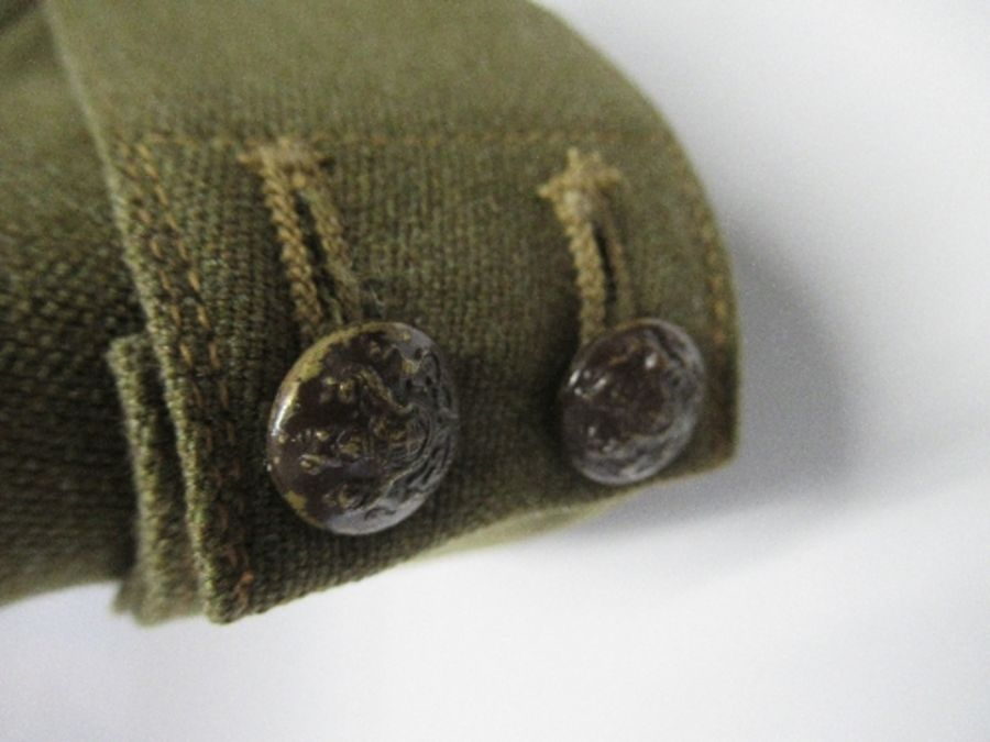 A British naval style visor cap in white cotton, with anchor and crown to the front on a black hat - Image 11 of 13