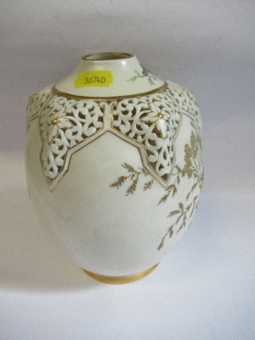 A Royal Worcester gilded ivory vase, with pierced decoration around the neck, shape number G61, - Image 5 of 5