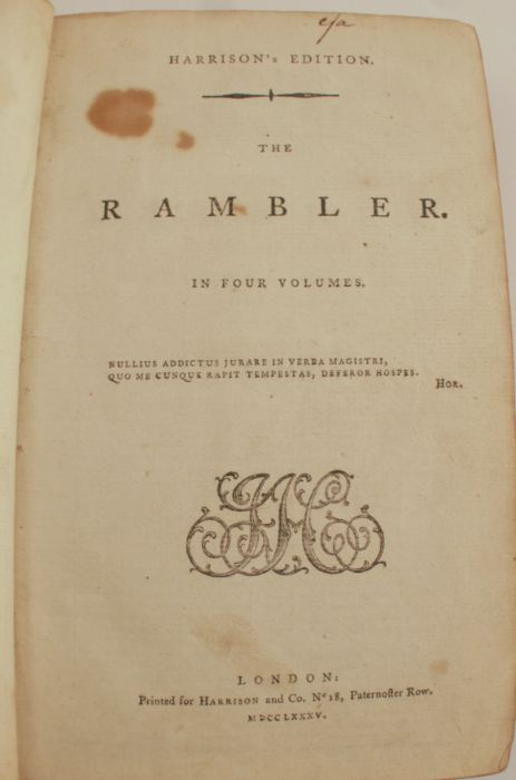 Harrison's Edition of The Rambler, in four volumes bound together, printed for Harrison & Co, - Image 2 of 2