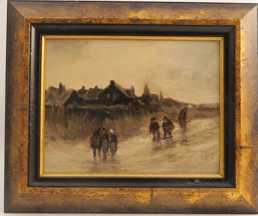 A pair of 20th century oil on board, winter scene with figures in storms, 6ins x 8ins - Image 2 of 3