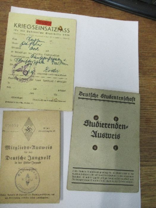 World War II, Hitler Youth paperwork relating to Karl Passler, to include membership card for the