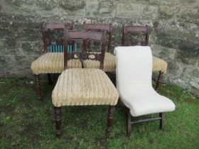 A set of four 19th century mahogany bar back dining chairs, together with an easy chair