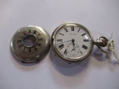 A silver cased half hunter, 15 jewel, lever in working order, marked Max Mink, front cover hinge