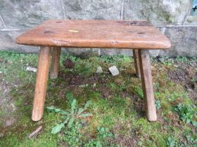 A primitive style oak stool, 13ins x 8.5ins x height 9ins