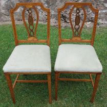 A pair of satinwood bedroom chairs, in the Sheraton revival style, decorated with shells and leaves
