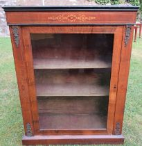 A 19th century walnut pier cabinet, with glazed doors and satinwood inlay, 29.5ins x 12ins, height