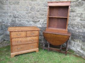 An oak chest of drawers, width 36ins x depth 20ins x height 32ins, together with an oak gate leg