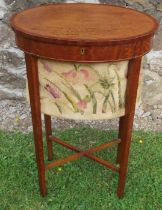 A 19th century satinwood oval sewing table, with tapestry basket, raised on square tapering legs
