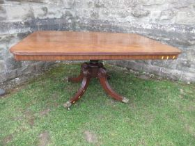 A 19th century mahogany breakfast table, raised on a column with four reeded legs terminating in