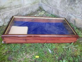 A mahogany framed table top glazed display cabinet, with rising lid, 12ins x 24ins x height 4ins