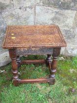 An oak coffin stool, of rectangular form, 16.5ins x 11ins, height 18.5ins