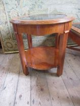 An American reproduction glass top coffee table, width 41ins x height 17.5ins, together with a