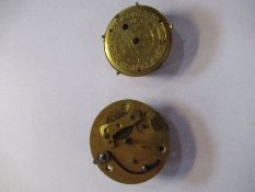 A pair of fusee movements, with cylinder escapement, parts only, together with a fully jewelled,
