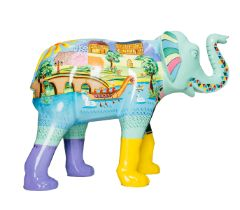 Alex the Cleaniphant A riverside scene of Worcester using bright colours H1600mm x L2150mmx W800mm,