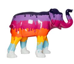 Global Warming Rainbow coloured elephant, with colours dripping down H1600mm x L2150mmx W800mm,